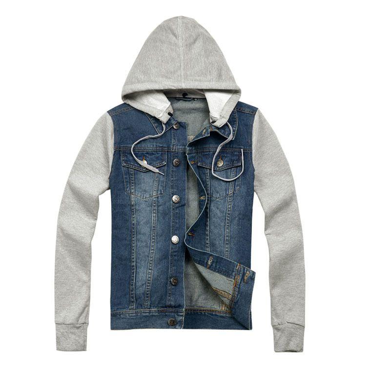 Лидер продаж! 2018 Новая мода прибыть осень мужская куртка джинсовая куртка с капюшоном Жан толстовка с длинными рукавами джинсовая куртка вы...