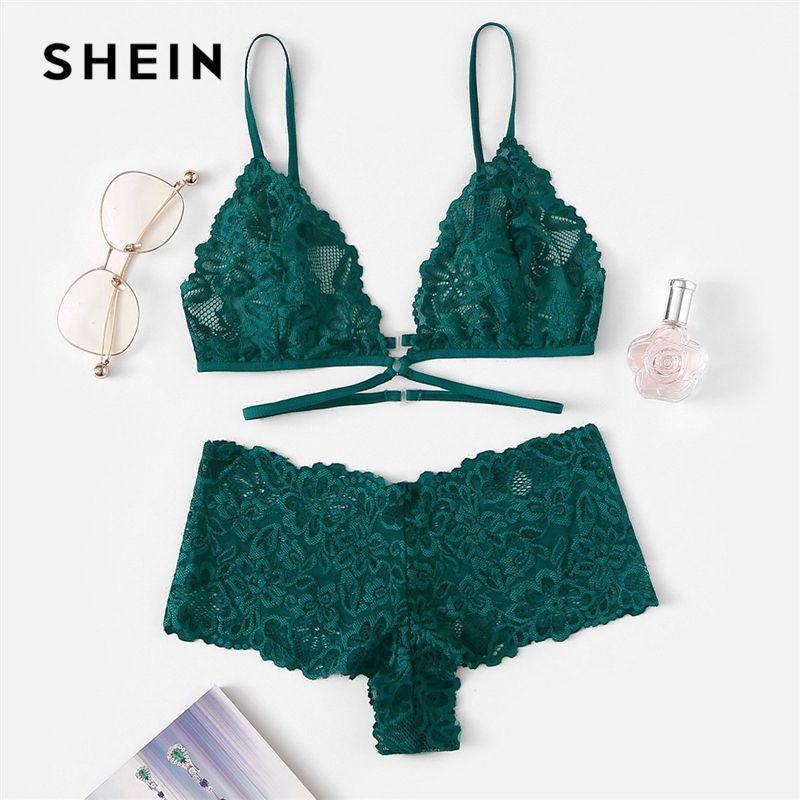 SHEIN Grün Sexy Floral Spitze Dessous Set Frauen Sommer Zurück Verschluss Wireless Bh und Slip Feste Unterwäsche Dessous Sets
