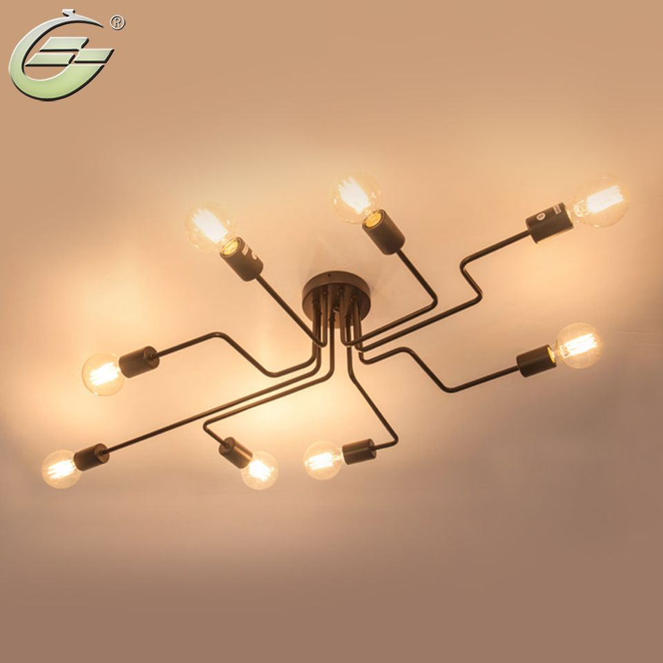 Retro Creative Metal Flush Mount 4/6/8-Light Cafe Bar Ceiling Lamp Chandelier Lighting Fixure