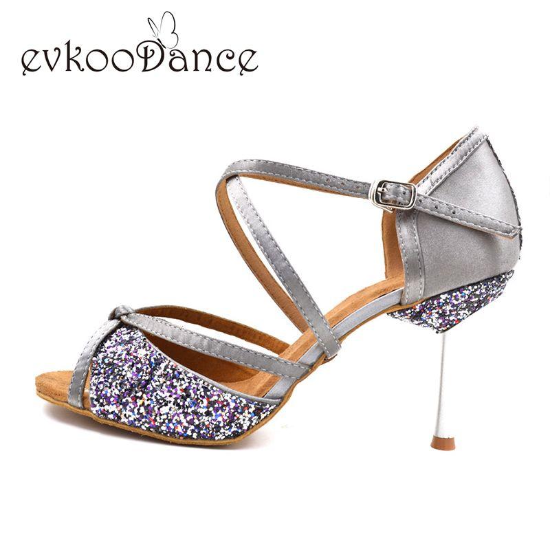 Paillettes filles chaussures de danse femmes 8.5 cm talon en métal semelle souple kaki noir gris Salsa salle de bal chaussures de danse latine pour dames NL002