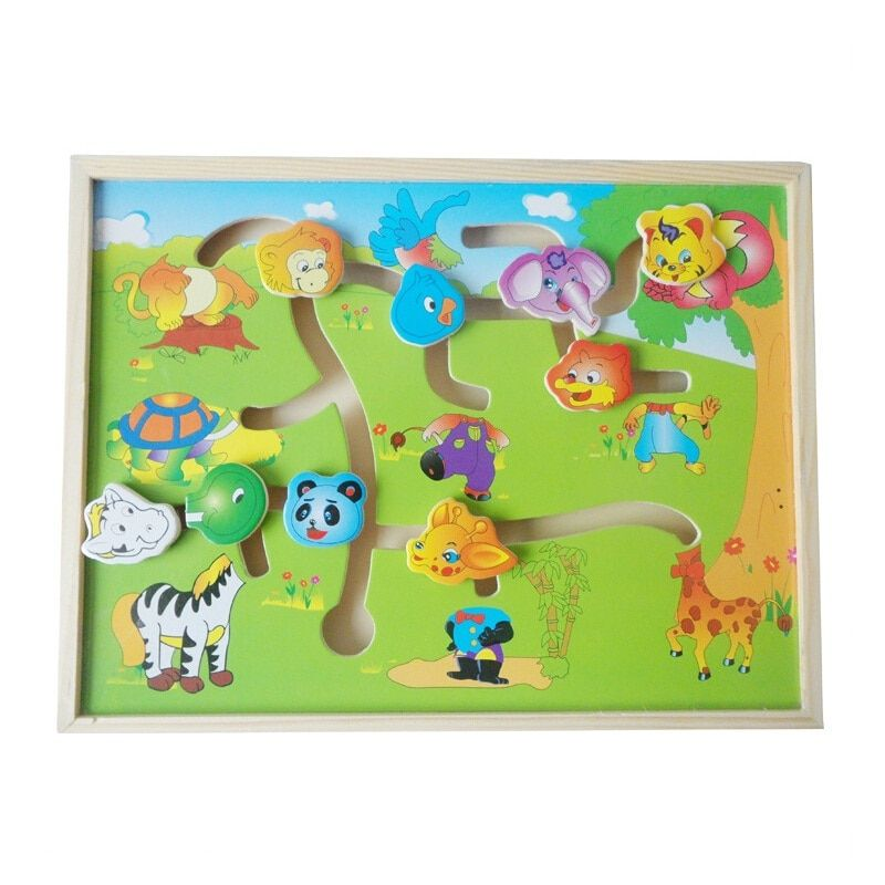 Éducatifs Logico labyrinthe en bois Avion Puzzles Animaux-Corps-Match Labyrinthe Intelligence jouets d'éveil pour les enfants WJ330