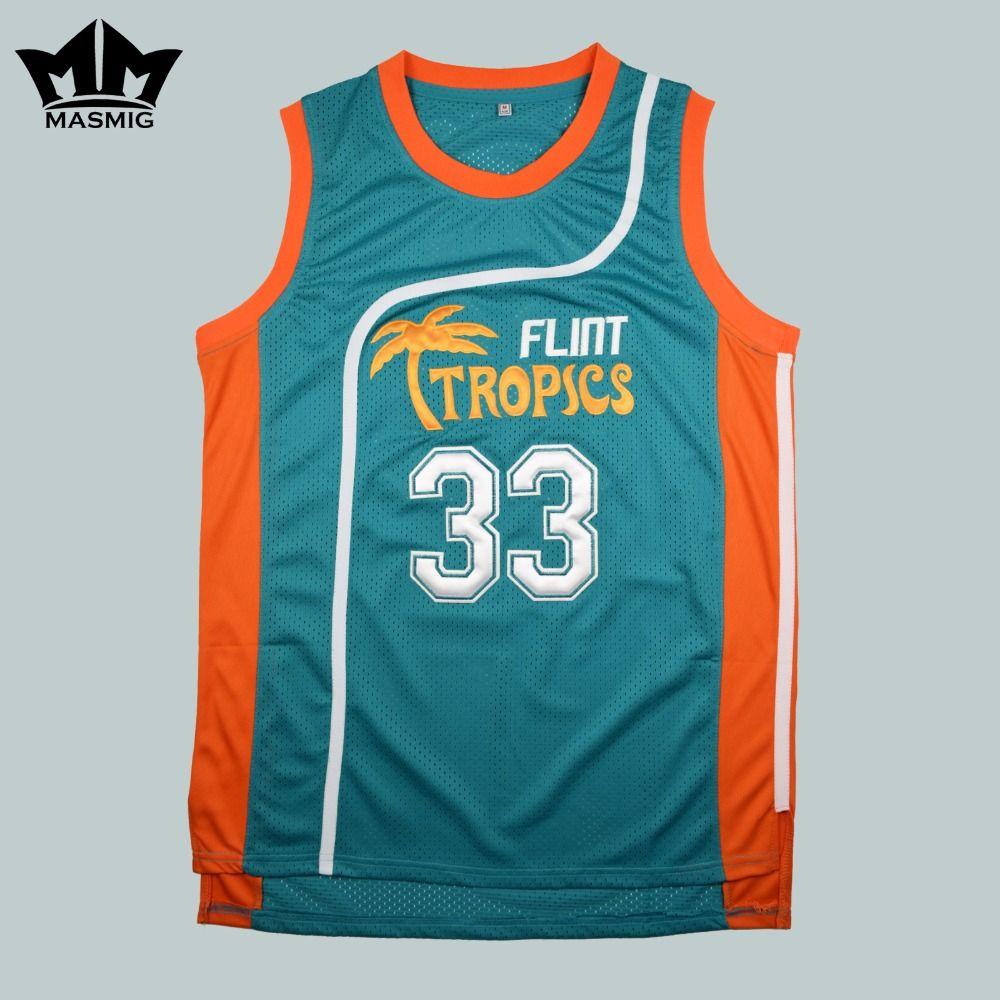 Мм masmig полу про Джеки Мун 33 Флинт тропиков Баскетбол Джерси Зеленый Бесплатная доставка Размеры S M L XL XXL, XXXL