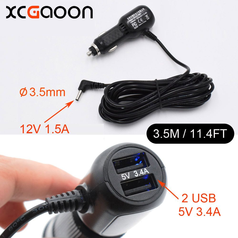 XCGaoon 3.5mm Port USB Car Charger for Car Radar Detector GPS, input 12V Output 12V 1.5A With 2 USB Port 5V 3.4A Cable 3.5Meter