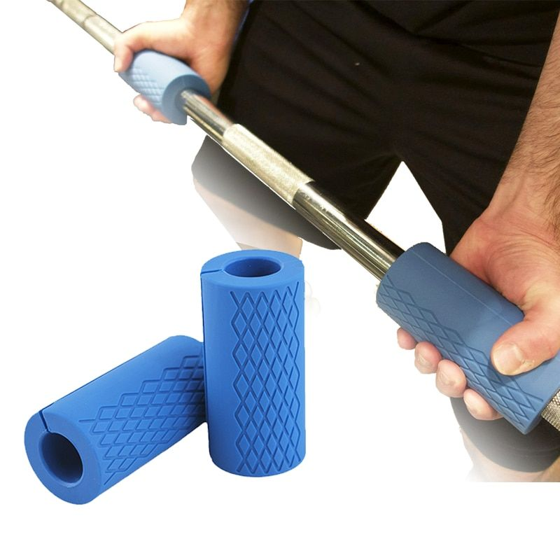 1 Pair Barbell <font><b>Dumbbell</b></font> Grips Thick Bar Handles Silicone Anti-slip Protect Pad Pull Up Weightlifting Fat Grip Support