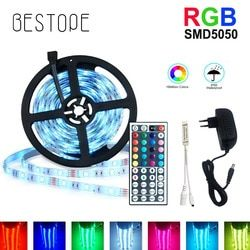 5 м RGB Светодиодная лента 5050 SMD Диодная RGB лента водонепроницаемая гибкая светодиодная лента 30D/M с пультом дистанционного управления + адапте...