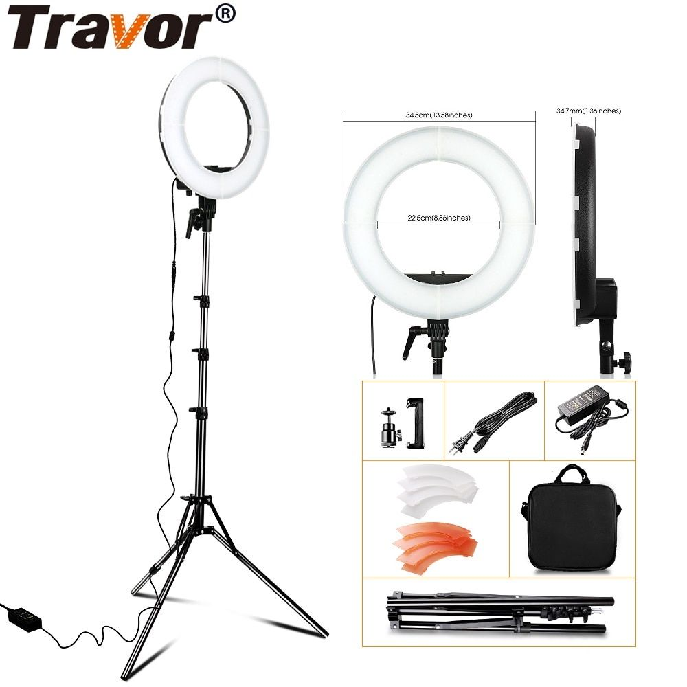 LED Ring Light RL-12 Dimmable 5500K 55W 196PCS Photography Ring Light For Camera Photo Studio Phone With Tripod Stand