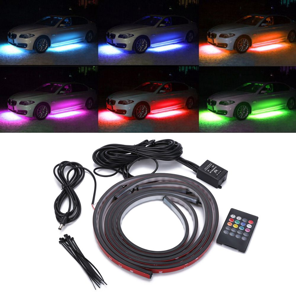 1 Set 4pcs Car RGB LED Strip Light Under Car Tube Underglow Underbody Neon Light System Kit Decorative Lamp With Wireless Remote