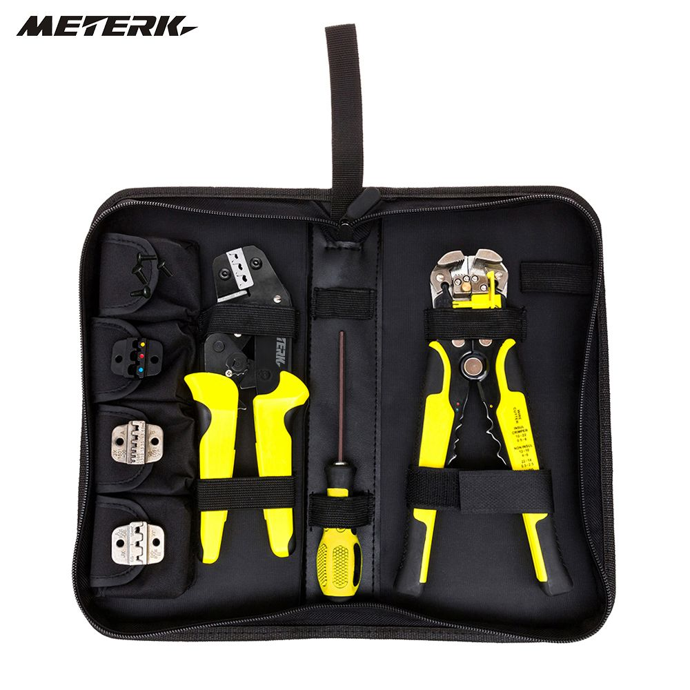 Meterk hand tools 4 In 1 multitool Wire Crimpers Engineering Ratcheting Crimping Pliers Cord End Terminals + Wire Stripper
