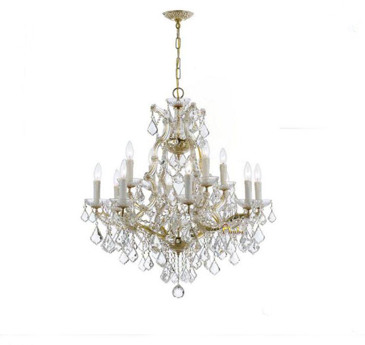 Phube Beleuchtung Maria Theresia K9 Kristall-kronleuchter Beleuchtung Gold/Chrom Kronleuchter Licht Beleuchtung + Kostenloser versand