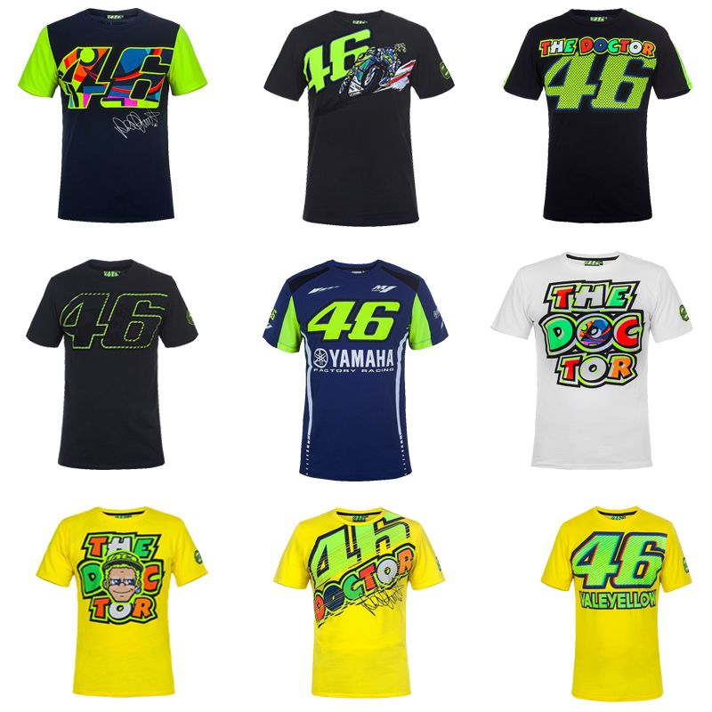 Free shipping 2017 VR46 Valentino Rossi T-Shirt Moto GP 46 The Doctor Signature Motorcycle Racing Sports for Yamaha T shirt