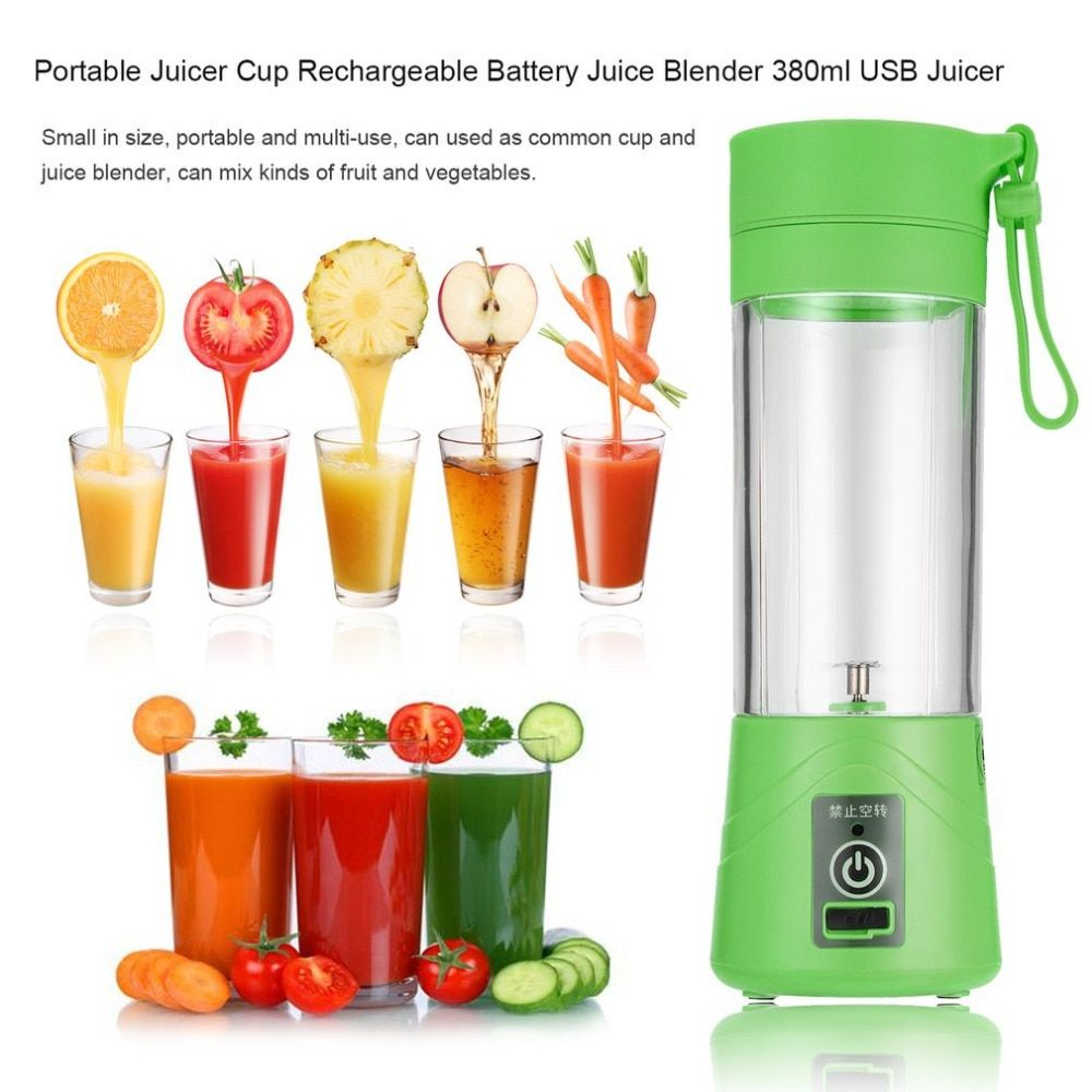 USB Rechargeable Juicer Cup, Fruit Mixing Machine, Portable Personal Size Eletric Rechargeable Mixer, Blender,Water Bottle 380ml