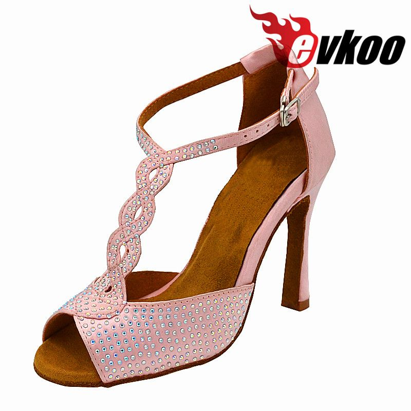 Evkoodance Dacning Shoes Satin Latin Salsa High Heel 10cm Comfortable Size US 4-12 Pink And Rhinostone Style Evkoo-465