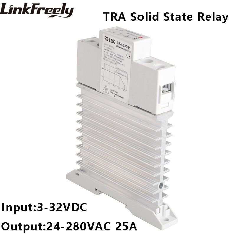 TRA-23D25M1 5pcs Integrated Solid State Relay 25A DC to AC Ouput 24-280VAC Heat Sink Din Rail SSR Relay 5V 12V 32V 24VDC Input