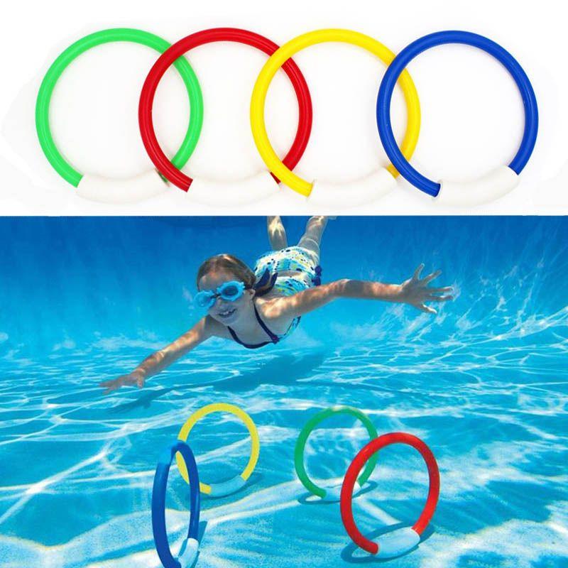4 Pcs/Pack 2017 enfant enfant anneau de plongée jouets d'eau sous-marine piscine accessoires plongée bouées quatre chargé jouets de lancer