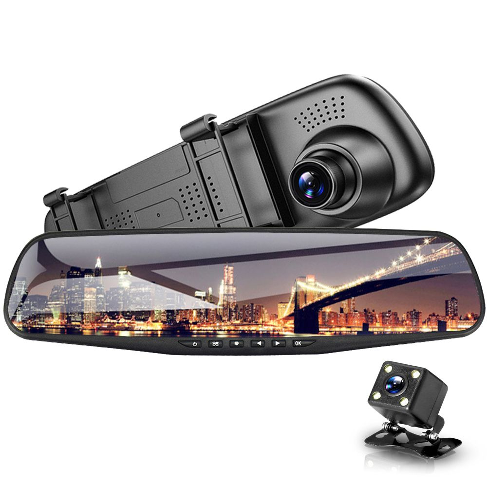 Car DVR Dual Lens Car Camera Full HD 1080P 4.3 inch Video Recorder Rearview Mirror With Rear view DVR Dash cam Auto Registrator