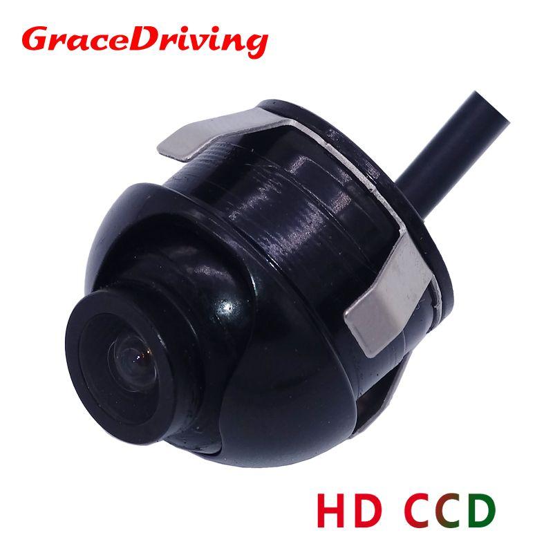 Livraison gratuite Mini CCD HD Vision nocturne 360 degrés caméra de recul de voiture caméra frontale vue de face caméra de recul latérale