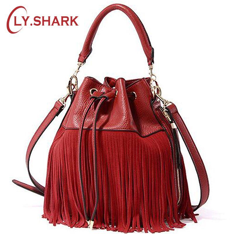 LY. Requin femmes sacs à main en cuir gland sac seau sacs à main de luxe femmes sacs Designer qualité épaule bandoulière Messenger sacs