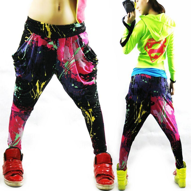 Nouvelle marque de mode Jazz harem femmes hip hop pantalon danse doodle printemps et été lâche néon patchwork bonbons couleurs pantalons de survêtement