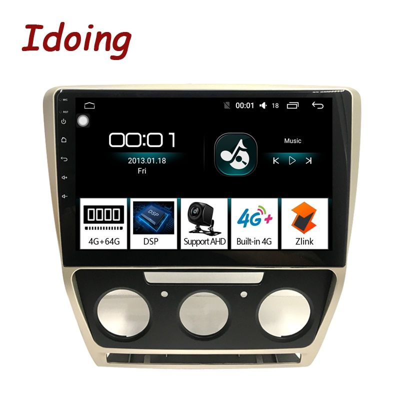 Idoing 10,2 1Din 2.5D Auto Android 8.1 Radio Multimedia Player Fit Skoda Octavia 2007-2014 4G + 64G GPS Navigation Schnelle Boot Wifi