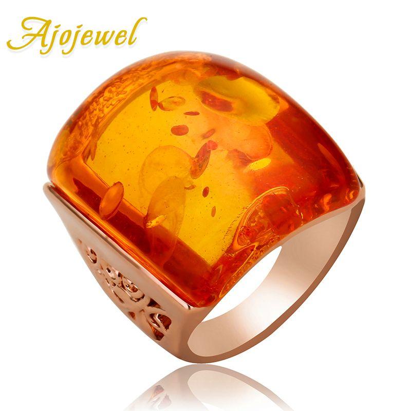 Ajogem taille 7-9 belle résine Orange grande bague en pierre femmes accessoires Imitation Anel bijoux fantaisie