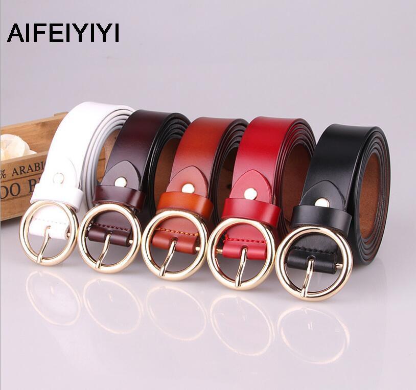 2018 AIFEIYIYI new women's belt pure leather round pin buckle belt fashion retro wild leather belt