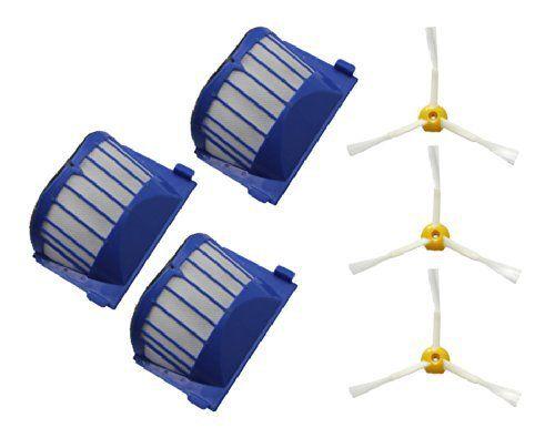 3  Aero Vac Filter + 3 side Brush kit for iRobot Roomba 600 Series 595 620 630 650 660 Vacuum Cleaner replacement