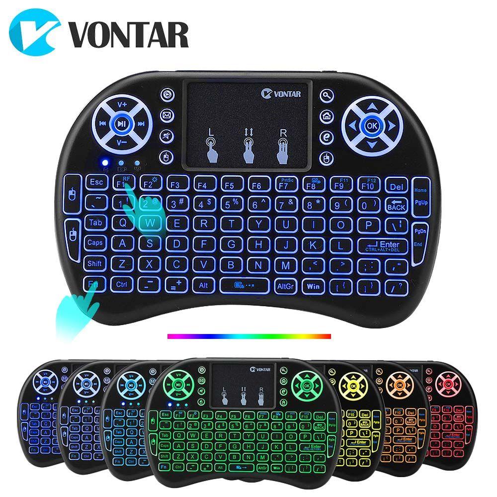 VONTAR i8 clavier sans fil russe anglais hébreu Version i8 + 2.4GHz Air souris Touchpad portable pour Android TV BOX Mini PC