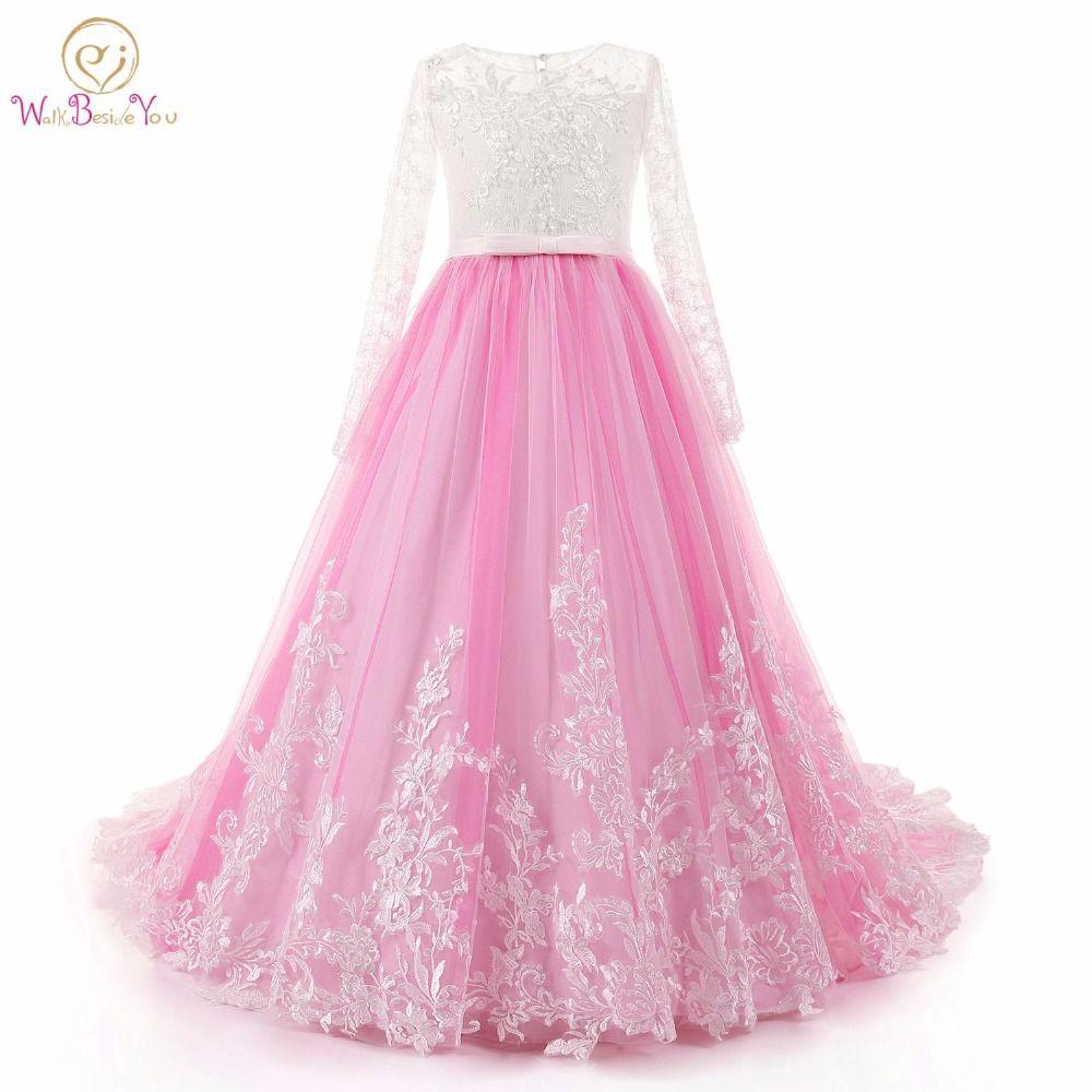 Marcher À Côté de Vous Manches Longues Fleur Fille Robes Rose Ivoire dentelle robes de comunion avec Train Robes de Demoiselle Perlé robe