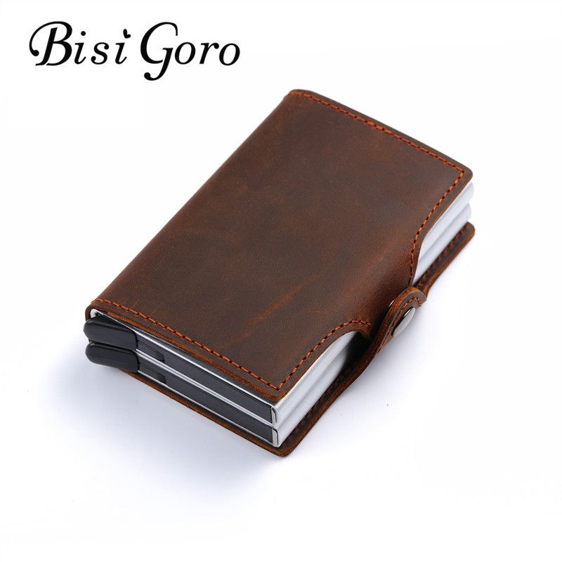 BISI GORO 2018 vintage genuine leather card holder rfid wallet aluminum unisex crazy horse leather 2 metal credit card holder