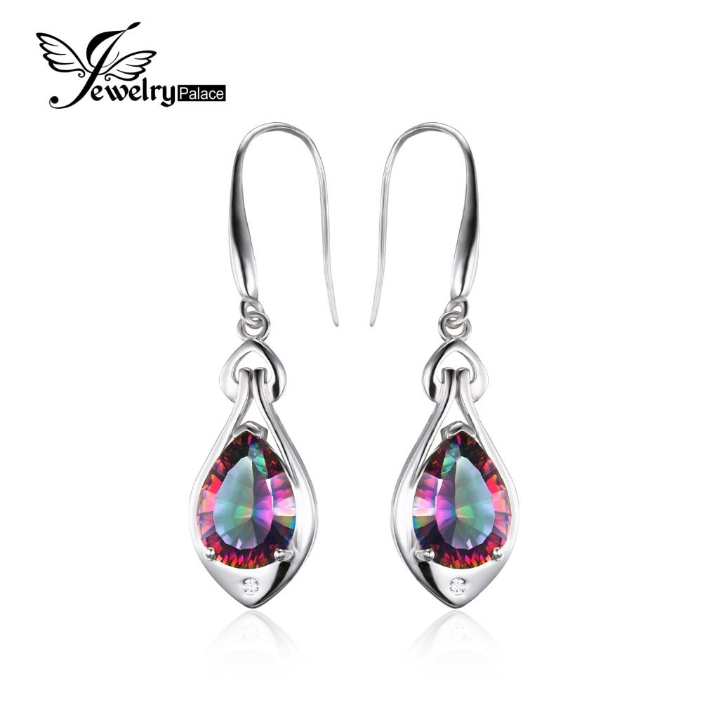 Jewelrypalace Water Drop 6.8ct Genuine Rainbow Fire Mystic Topaz Dangle Earrings Pure 925 Sterling Silver Fine Jewelry For Women