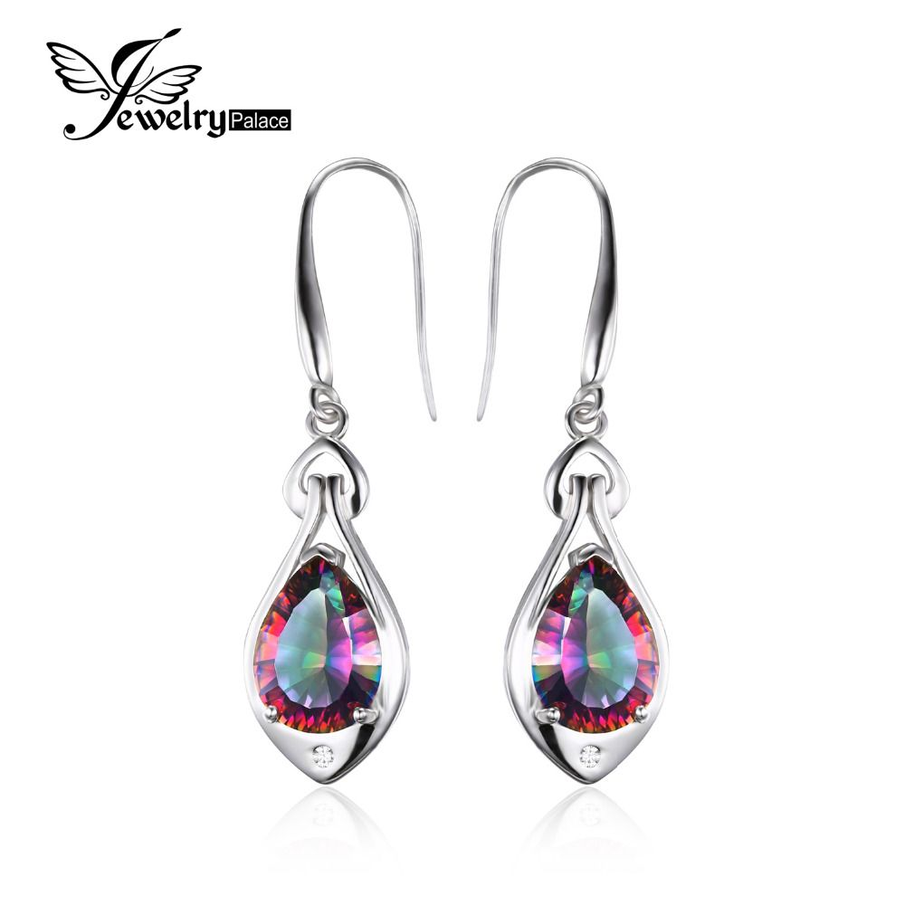Jewelrypalace Water Drop 6.8ct <font><b>Genuine</b></font> Rainbow Fire Mystic Topaz Dangle Earrings Pure 925 Sterling Silver Fine Jewelry For Women