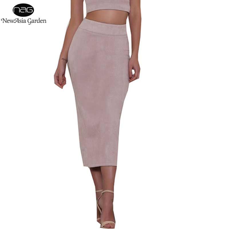 <font><b>Good</b></font> Quality Skirts Womens High Waist Suede Skirts Midi Winter Long Skirt Autumn Spring Back Slit Pencil Skirt Stretchy Saia