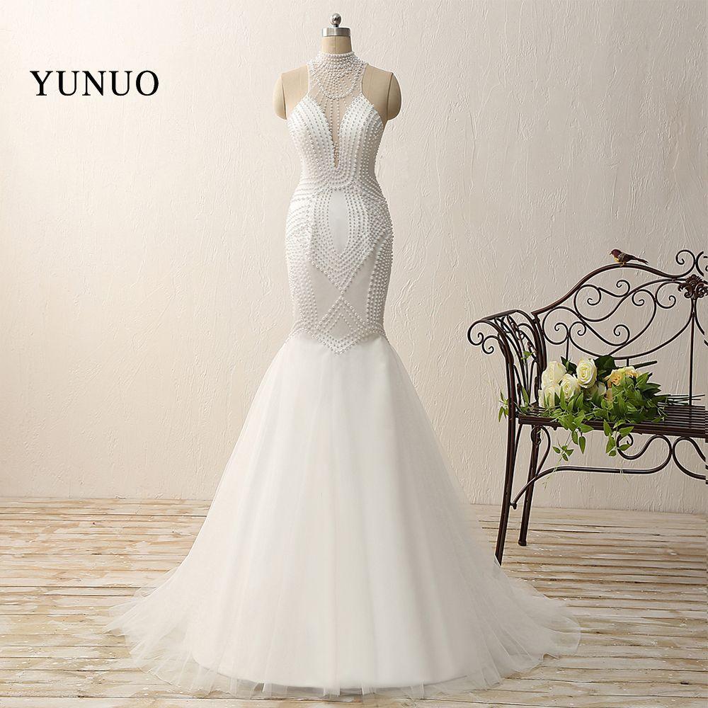 Vestido De Noiva Sexy Sheer Back Mermaid Full Pearls Wedding Dress 2017 Custom Made Sheer back Round Neck Dress For Wedding 2017