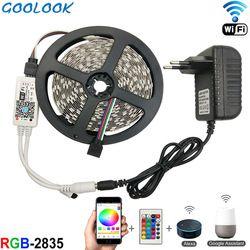 Lampu LED Strip SMD 2835 RGB LED Pita 5 M 10 M LED Fleksibel Strip RGB Pita Cahaya 3528 LED strip Diode DC12V + Controller Full Set