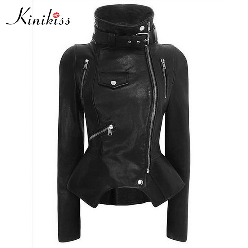 Gothic faux leather coats Women Winter <font><b>Autumn</b></font> Fashion Motorcycle Jacket Black Outerwear faux leather PU Jacket 2018 Coat HOT