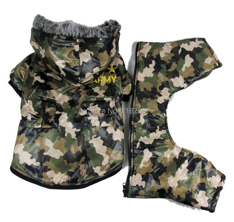 Nouveau Mignon Camouflage imperméable coupe-vent quatre pattes Animaux Chiens Manteau Livraison Gratuite Par la poste Chiens chine vêtements