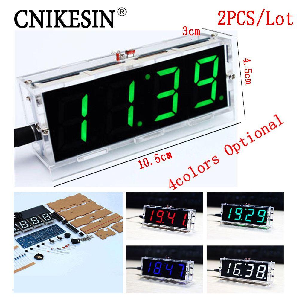 CNIKESIN 2 PCS DIY horloge Numérique horloge production suite voix chronométrage, DIY SMC formation électronique montre 4 couleurs (en option