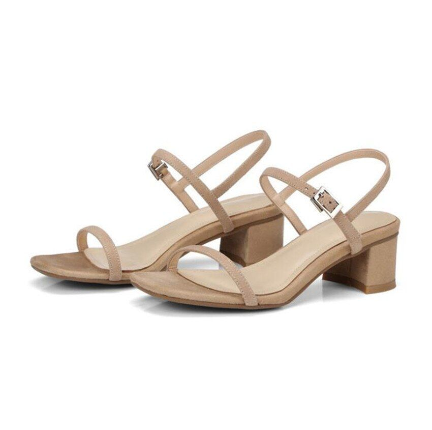 ZOUDKY The Korean version 2018 cattle leather sandals Ferret with low heel women shoes