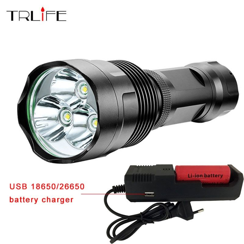 Super Bright 48000LM Flashlight 3T6-16T6 LED Outdoor Lighting 5 Modes Waterproof Torch Lanterna Hunting with 26650 & Charger
