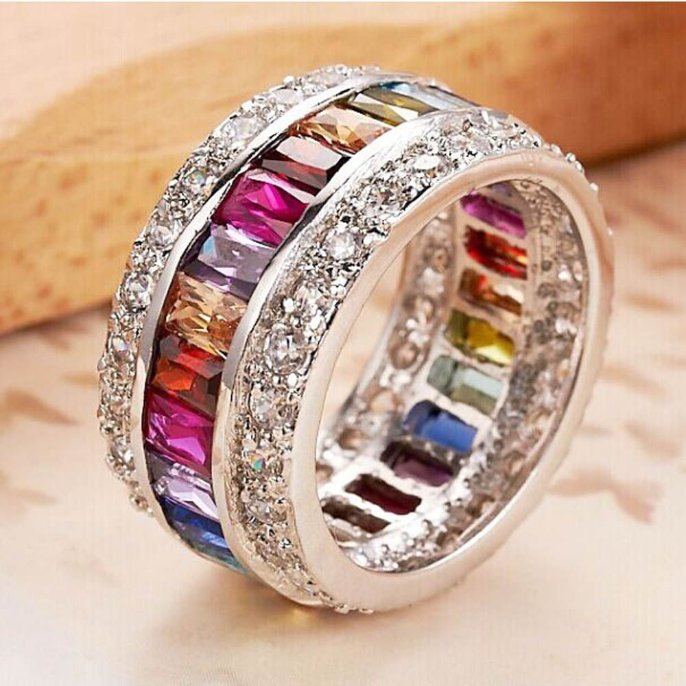 YaYI Jewelry Fashion Princess Cut 12 CT Multi Zircon Silver Color Engagement Rings wedding crown Rings Party Rings 681