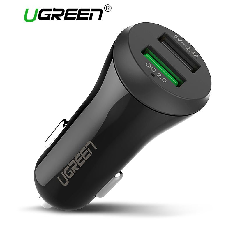 Ugreen Voiture USB Chargeur Charge Rapide 3.0 2.0 Mobile Téléphone Chargeur 2 Port USB Rapide Chargeur De Voiture pour Samsung Xiaomi Tablet Chargeur