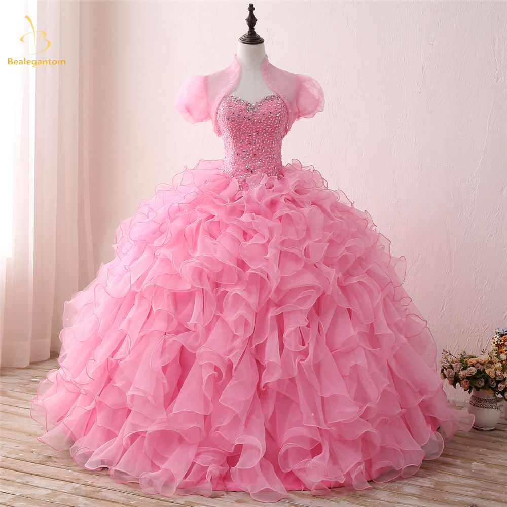 Bealegantom New Real Photo Sweetheart Quinceanera Dresses 2018 Ball Gown Beaded Sweet 16 Dress Vestidos De 15 Anos QA1306