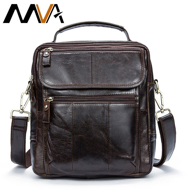 MVA Genuine Leather Mens Bags Male Crossbody Bags Small Flap Casual Messenger Bag Men's Shoulder Bag genuine leather Skin 8870