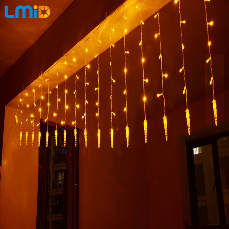 Iluminación de vacaciones 4x0.6 M Carámbano Colorido luminarias LED Cortina de la Secuencia de Hadas de Navidad navidad Garland Decoración de Navidad LLEVÓ La Luz