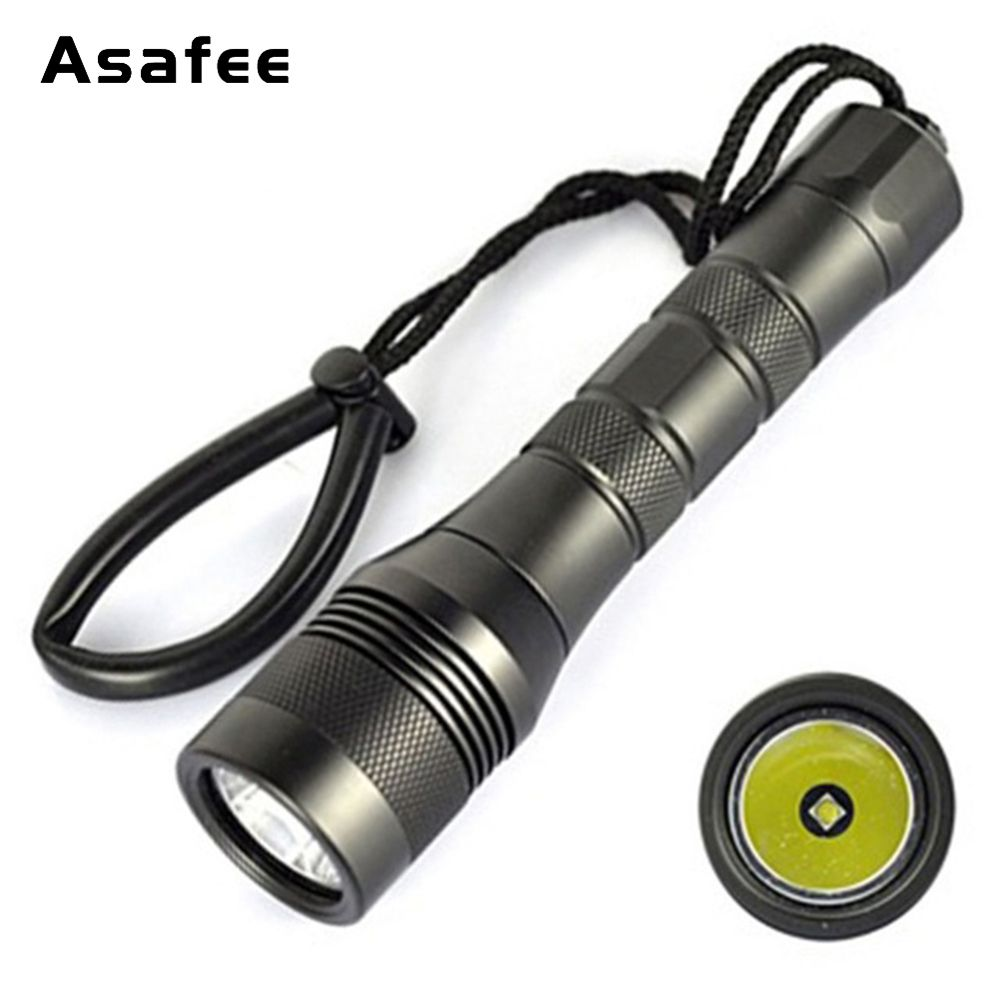 Asafee DIV01 Professional Flashlight for Diving CREE XM-L2(U4) Underwater 200m Waterproof LED Scuba Diving Torch 18650 26650