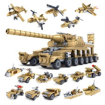 544PCS 16in1 Military Tank Building Blocks Vehicle Compatible with Super plane Tank Army brick Toys for Children