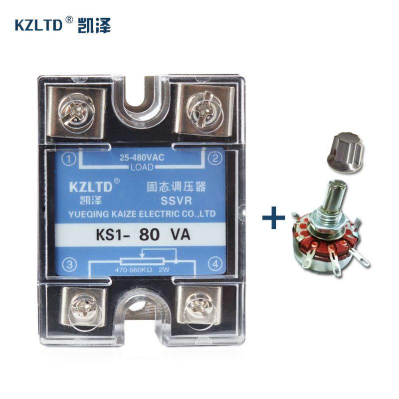 SSR-80VA Réglable Haute Tension Régulateur Solid State Relais 25 ~ 480VAC Monophasé mini perti 220 V 12 V 80A + 1 PC Potentiomètre