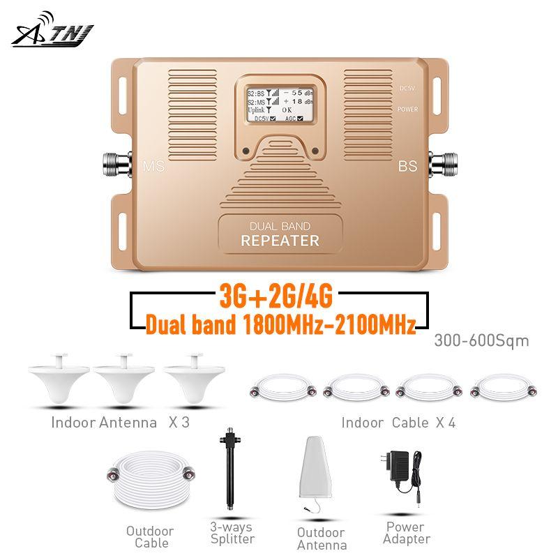 ATNJ dual band repeater 2g 3g 4g handy Verstärker 1800/2100 mhz signal booster mit lcd-bildschirm enthalten 3 indoor antenne