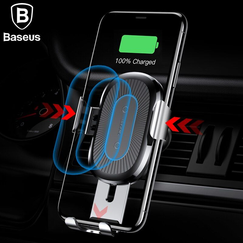 Baseus Wireless Charger Car Holder For iPhone X 8 8Plus Wireless Car Charger Phone Holder For Samsung S9 S8 Mobile Phone Charger