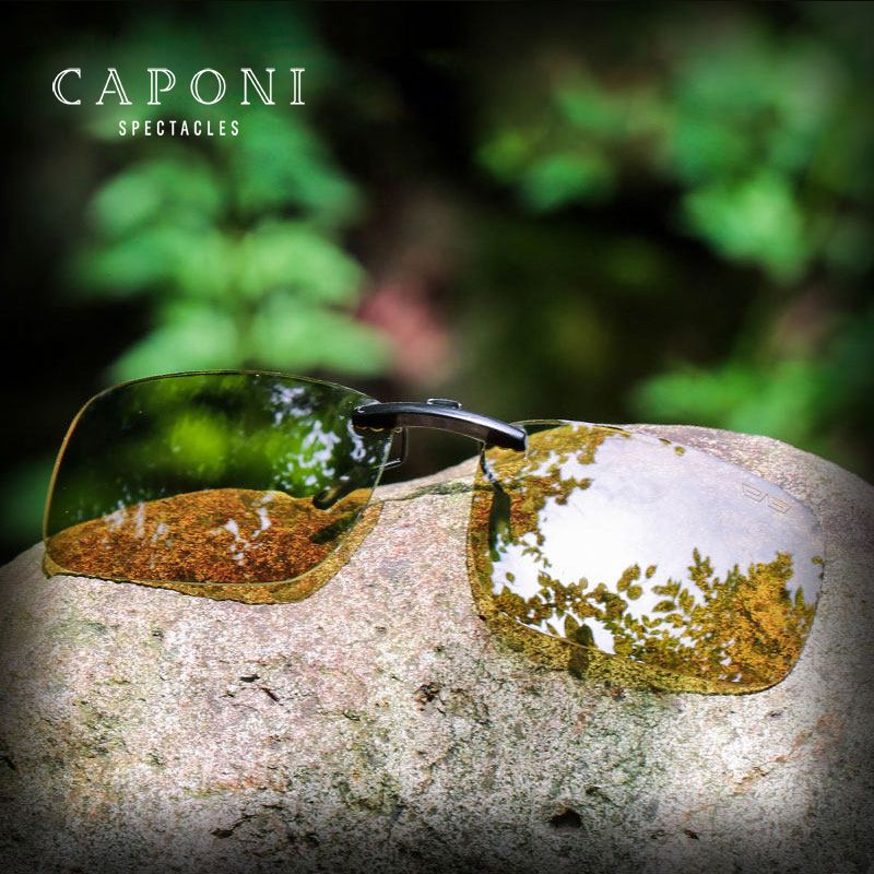 Caponi Square Polarized Photochromic Clip On Sunglasses Unisex Friving For Day and Night Flip Up Sun Glasses YSBS1288